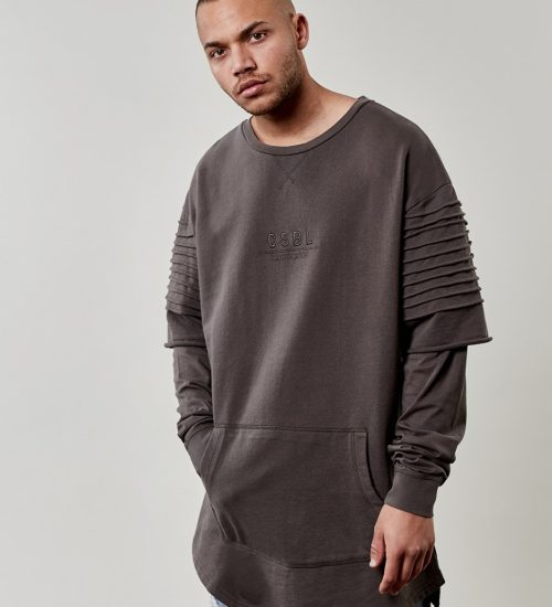 Mikina Cayler & Sons Pleated Layer Crewneck Grey 2245 Kč